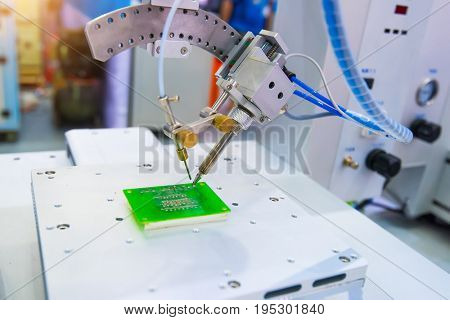 PCB Processing on CNC machine working in factory