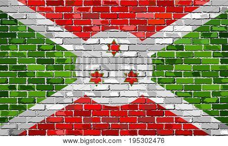 Flag of Burundi on a brick wall - Illustration