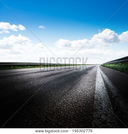 Road way forward direction. Summer day landscape