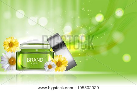 Face Cream Bottle Tube Design Cosmetics  Product  Template for Ads or Magazine Background. Shower Cream. 3D Realistic Vector Iillustration. EPS10