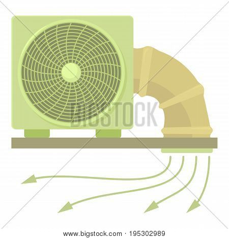 System fan and pipe icon. Cartoon illustration of system fan and pipe vector icon for web design