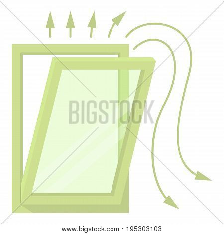 Window ventilation icon. Cartoon illustration of window ventilation vector icon for web design
