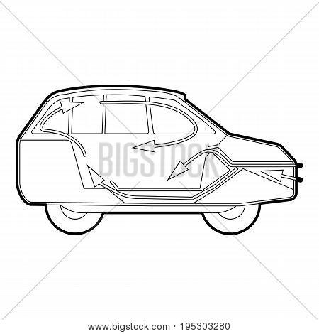 Car air ventilation icon. Outline illustration of car air ventilation vector icon for web design