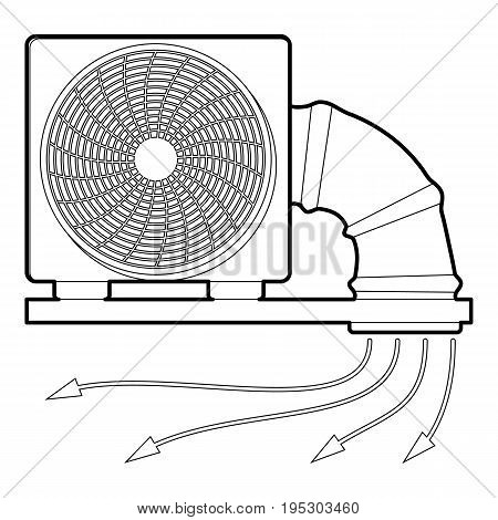 System fan and pipe icon. Outline illustration of system fan and pipe vector icon for web design