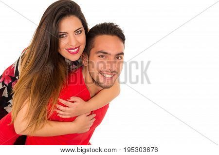 Full portrait of happy couple isolated on white background. Attractive man and woman being playful.