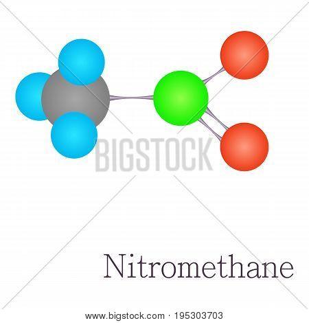 Nitromethane 3D molecule. Cartoon illustration of nitromethane 3D molecule vector for web design