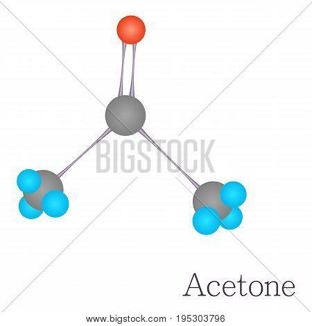 Acetone 3D molecule. Cartoon illustration of acetone 3D molecule vector for web design