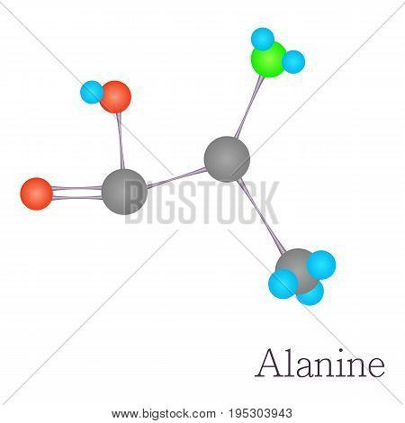 Alanine 3D molecule. Cartoon illustration of alanine 3D molecule vector for web design