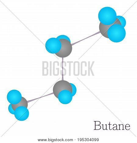 Butane 3D molecule. Cartoon illustration of butane 3D molecule vector for web design