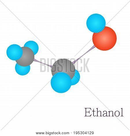 Ethanol 3D molecule. Cartoon illustration of ethanol 3D molecule vector for web design