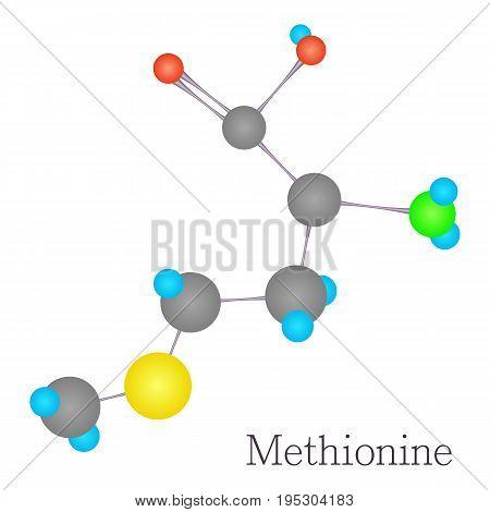 Methionine 3D molecule. Cartoon illustration of methionine 3D molecule vector for web design
