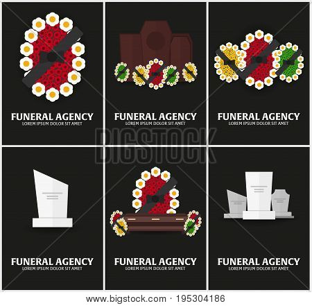 Set of Funeral sevices and Funeral agency banners. Cemetery. Vector illustration