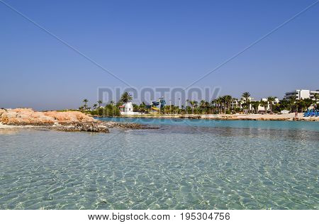 Beautiful lagoon beach on Cyprus island near Ayia Napa