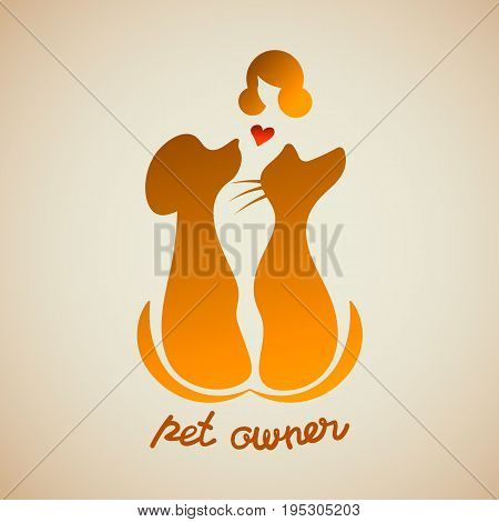 A woman tenderly holding her dog and a cat. Silhouette of girl with negative space pets and lettering pet owner. Vector logotype template.