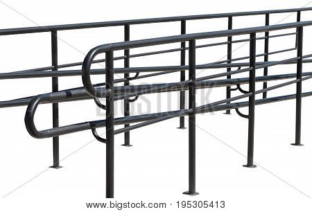 metal fence with handrail on white background