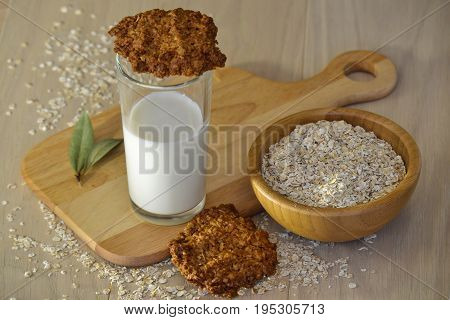 Fresh oatmeal cookies with milk Fresh oatmeal cookies with milk