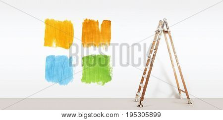 painter ladder with paint colors samples isolated on blank white wall background web banner