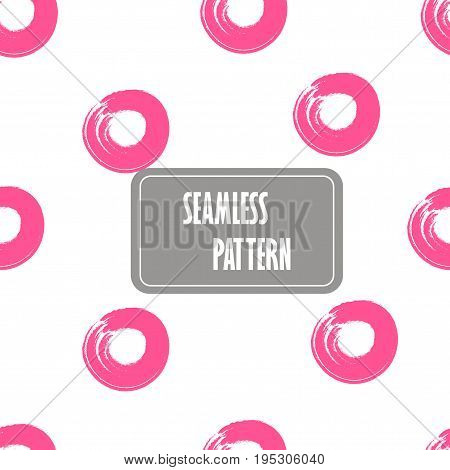 Seamless Pink Dots, Seamless Hand Drawn Circles. Geo, Geometric Pattern With Abstract Ring In Pink.