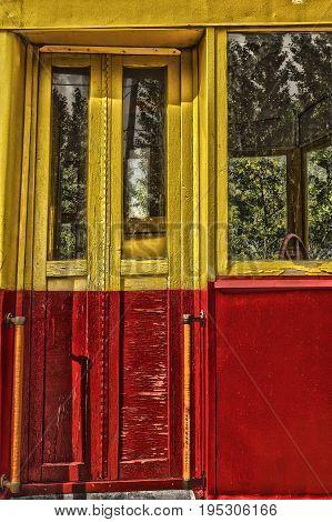 Doors of old electric tramthe door of the old tramthe tram doorspublic transportwooden door