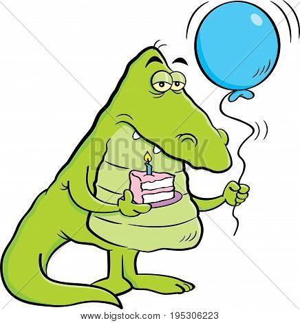 Cartoon illustration of an alligator holding a piece of cake and a balloon.
