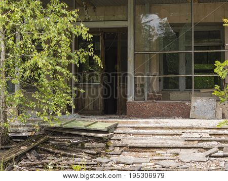 Abandoned Scene in Ghost City of Pripyat in Chernobyl Exclusion Zone