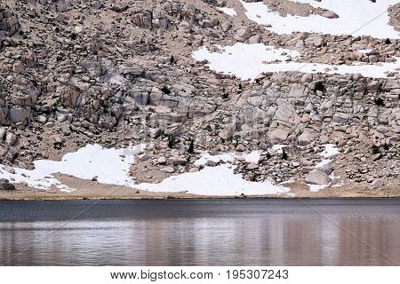 Chicken Spring Lake which is a high altitude alpine lake taken in the Sierra Nevada Mountains, CA