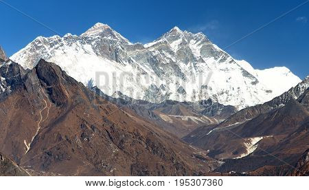 view of Mount Everest Nuptse rock face Mount Lhotse and Lhotse Shar from Kongde - Sagarmatha national park - Nepal