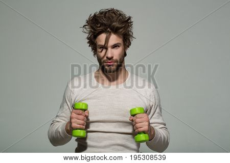 Sport, Man With Barbell Doing Morning Exercise, Has Uncombed Hair