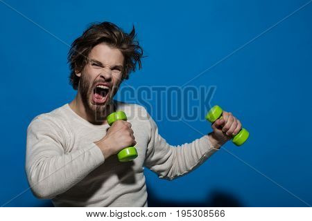 Shouting Man With Barbell Doing Morning Exercise, Has Uncombed Hair