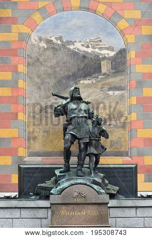 Altdorf Switzerland - June 14 2017: Wilhelm Tell monument at the cantonal capital of Altdorf in the Canton of Uri