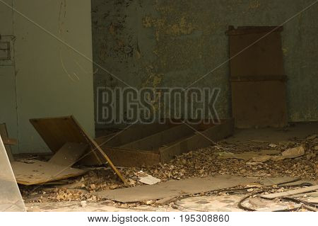 Abandoned school library in ghost town of Pripyat in Chernobyl Exclusion Zone