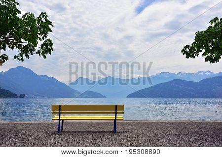 Landscape In The Lake Luzern Region Nearby City Of Vitznau