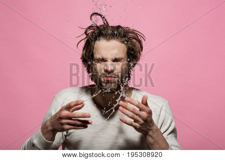 Splash Of Water Drops Of Man Washing Face In Morning