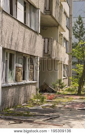 Abandoned building exterior in ghost city of Pripyat in Chernobyl Exclusion Zone
