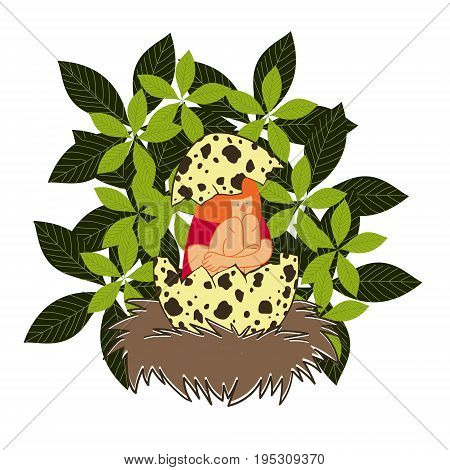The girl in the nest. Cute funny vector illustration drawn by hand