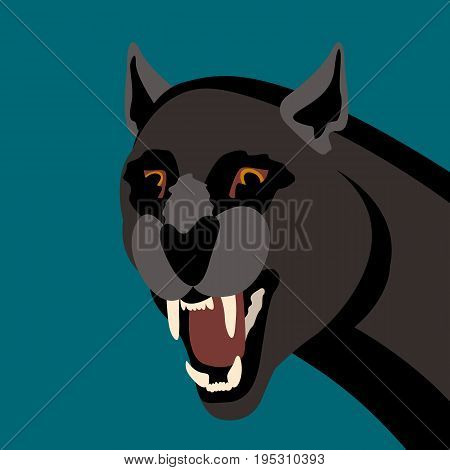 Black panther's head vector illustration style flat