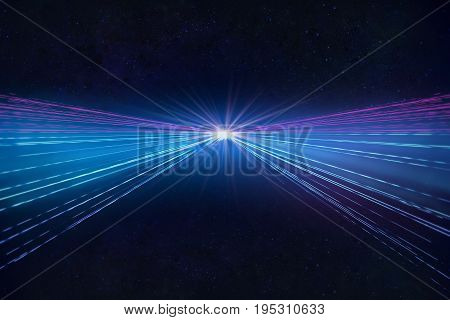Abstract dark background with headlights blue and purple lines. Motion concept