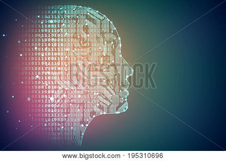 Artificial intelligence. Human head outline with circuit board inside. Technology and network concept. 3D Rendering