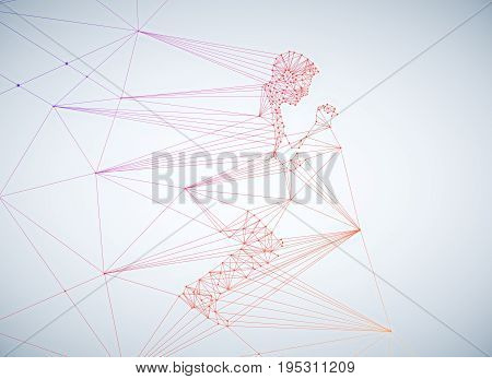 Abstract polygonal man on white background. 3D Rendering