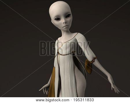 3d illustration of the grey alien