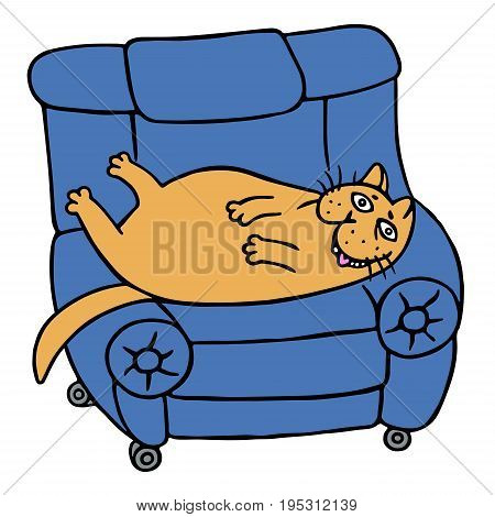 Cute lazy orange fat cat is lying on a armchair. Funny cartoon cool character. Contour freehand digital drawing. White color background. Isolated vector illustration.