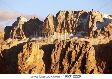 Evening view of Sella gruppe or Gruppo di Sella South Tirol Dolomites mountains Italy
