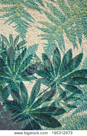 Artistic green background with beautiful fern leaves