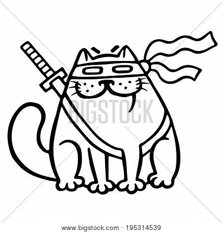 Fat ninja cat in a mask and a sword behind him. Funny cartoon cool character. Isolated vector illustration. White color background. Funny cartoon character.