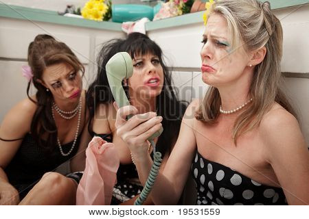 Upset Woman With Friends