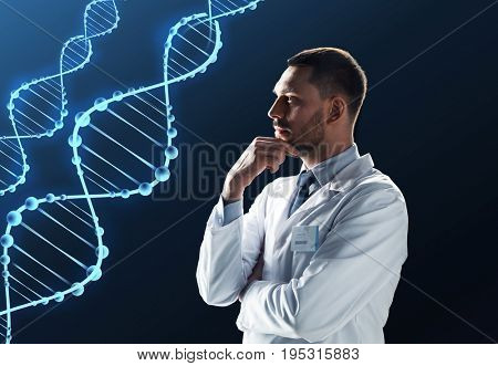 science, genetics and people concept - male doctor or scientist in white coat with dna molecule projection over black background