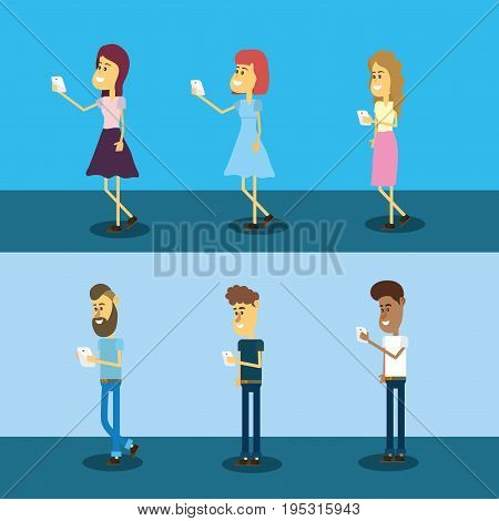 set people with smarphone social connection vector illustration