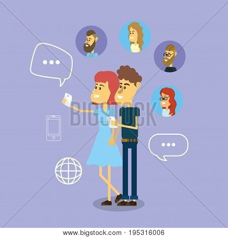 social comunication to people media connection vector illustration