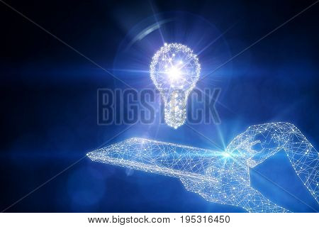 Blue polygonal tech hand using abstract tablet computer with lamp hologram on dark background. Innovative ideas and technology concept. 3D Rendering