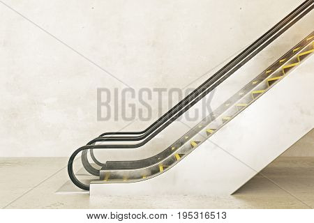 Side view of escalator on empty concrete wall background. Ad concept. Mock up 3D Rendering